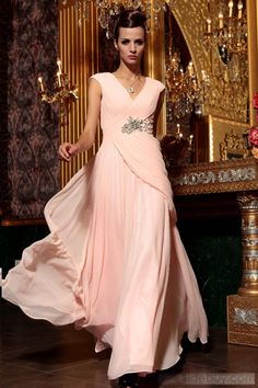 Gorgeous A-line V Neck Floor-length Prom Homecoming Dress : Tidebuy.com