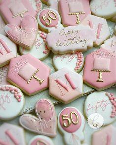 Birthday Cookies, 50th Birthday, Birthday Parties, Iced Sugar Cookies, Cake Cookies, Cookie Designs, Cookie Ideas, Custom Cookies, Cookie Decorating