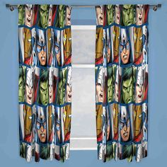 Marvel Avengers Shield Ready Made Curtains 66 x 54