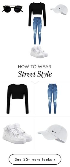 """street style wear"" by bekah2bick on Polyvore featuring Lipsy, NIKE, StreetStyle and airforce1s"