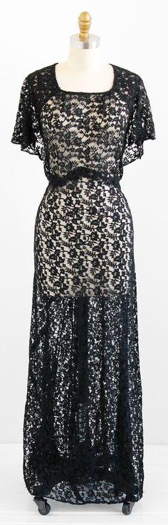 vintage 1930s dress / xl plus size 1x / Black by RococoVintage