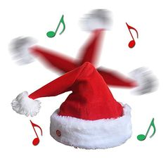 82b40a22a7ff5 QIUYEJUO Plush Musical Novelty Christmas Hat Moving Xmas Party Hats
