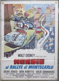 talian Title: Herbie al rallye di Montecarlo.  US title: Herbie goes to Monte Carlo (1977)  Directed by Vincent McEveety with Dean Jones, Don Knotts and Julie Sommars.  Size: 39x55 inches (100x140 cm)  Original poster for the first release in Italy in 1977.  Condition: Very Fine to Near Mint condition, folded. Never used.