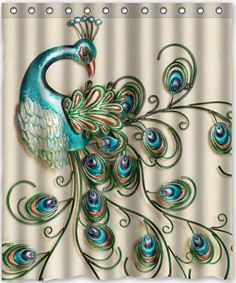 "Beautiful Peacock Pattern Popular Bath Curtain Shower Curtain (60"" x 72"" ) with Hooks"