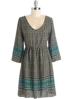 Enchant Hardly Wait Dress - Multi, Print, Other Print, Casual, Boho, Festival, Empire, 3/4 Sleeve, Woven, Good, Mid-length