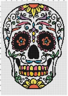 sugar skull day of the dead dia de los muertas cross stitch pattern - Mexican Halloween Skulls