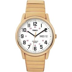 Keep track of time with this men's Timex Core Easy Reader. With a big, white dial, and easy-to-read black numerals and hands, this goldtone watch is perfect for a busy man on the go.