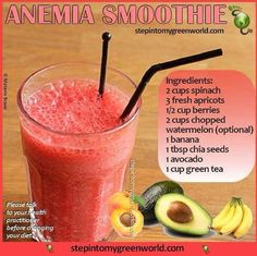 """Anemia Smoothie {Paleo} """"Anemia is a condition in which you don't have enough healthy red blood cells to carry adequate oxygen to your tissues,"""" states Mayo Clinic. Healthy Juices, Healthy Smoothies, Healthy Drinks, Healthy Eating, Healthy Recipes, Foods With Iron, Foods High In Iron, Iron Rich Foods, Iron Rich Recipes"""