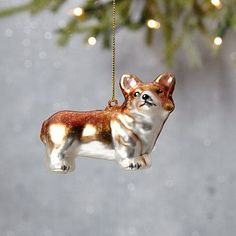 Perfect for dog-lovers. This cute, vintage-inspired Glass Corgi ornament is painted by hand. Find him a few friends to hang with on your tree. Old World Christmas Ornaments, Christmas Decorations, Christmas Décor, Xmas, Christmas Presents, Holiday Gifts, Christmas Ideas, West Elm, Ceramic Animals