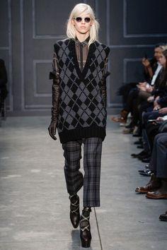 Vera Wang Fall 2014 RTW. #VeraWang #Fall2014 #NYFW argyle and plaid. oversized sweater vest. silk button up collar dress shirt.