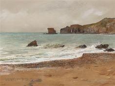 """Coastal Landscape"" c.1891 - Giulio Aristide Sartorio (Italian, 1860–1932)"