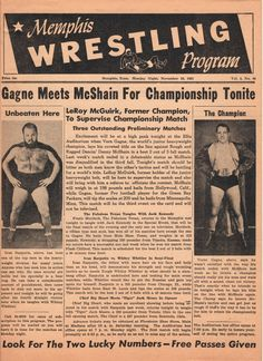 Verne Gagne vs. Danny McShain for NWA Junior Heavy Weight World Championship. 11-19-1951 McShain won this Wrestling match & Title. (D.D.)