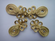 Lyracces Sewing Fasteners Vintage Pipa Chinese Knot Closure Cheongsam Frog Buttons Gold Tone 6in 5pair