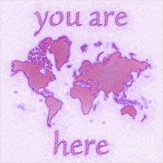 World Map Airy with You Are Here text in Purple And White by elevencorners. World map wall print decor. #elevencorners #mapairy