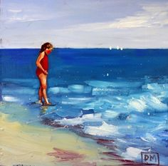 Beach Seeker -daily painting,children,beach scene, painting by artist Debbie Miller