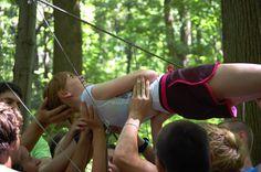 Spider's web outdoor teamwork games