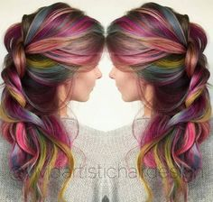 Find images and videos about beautiful, hair and beauty on We Heart It - the app to get lost in what you love. Beautiful Hair Color, Cool Hair Color, Pretty Hairstyles, Braided Hairstyles, Hairstyle Ideas, Underlights Hair, Bright Hair, Crazy Hair, Rainbow Hair