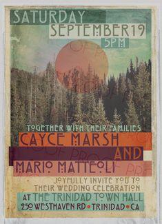 Concert Poster Wedding Invitation // Printable // Vintage Forest Sun