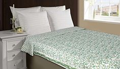 Handmade Indian Reversible Cotton Voile Quilt - White Green Leaves Floral Pattern - Queen Size (90 x 60 Inches) ShalinIndia http://www.amazon.com/dp/B00LN9DS6A/ref=cm_sw_r_pi_dp_IA1Vvb1DAJCHC