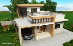 Meet Kassandra, two storey house design with roof deck. The ground floor has a total floor area of 107 square meters and 30 square meters at the second floor Two Storey House Plans, 2 Storey House Design, Double Storey House, House Roof Design, Small House Design, Modern House Design, House Layout Plans, House Layouts, Luxury House Plans