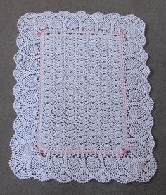 NEW White Exquisite Pineapple Baby Afghan Christening Blanket w/ Pink Ribbon!!