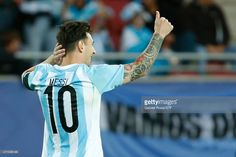 Lionel Messi of Argentina gives a thumb up during the 2015 Copa America Chile Group B match between Argentina and Paraguay at La Portada Stadium on June 13, 2015 in La Serena, Chile.