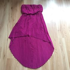 Pleated Strapless Hi-Low Dress NWOT. Never worn. Fuchsia color.  Lined inside. Size S. BCBGeneration Dresses High Low