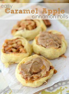 Easy Caramel Apple Cinnamon Rolls made with Crescent Rolls!   crazyforcrust.com   #apple #caramel #Fallbaking