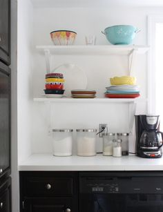 DIY Open Shelving >> http://blog.diynetwork.com/tool-tips/2012/11/19/diy-shelving-for-every-home/?soc=pinterest