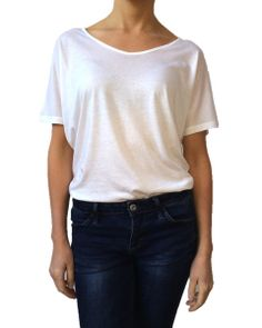 The new ANISA Slouchy Tee in Classic White, worn with jeans