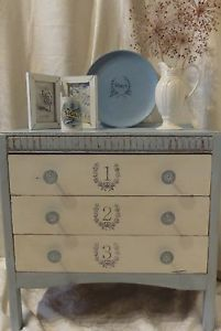 Shabby Chic Hand Painted Upcycled Vintage Chest of Drawers.  Annie Sloan.
