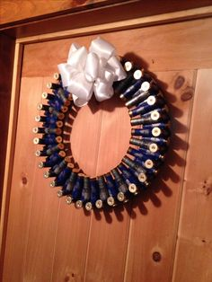 Blue and silver 12 gauge shotgun shell wreath