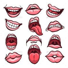 Buy Cartoon Mouth Set by on GraphicRiver. Set of cartoon mouths isolated on a white background. Cartoon Mouths, Cartoon Eyes, Cartoon Drawings, Cartoon Art, Mouth Drawing, Afrique Art, Caricature Drawing, Simple Cartoon, Drawing People