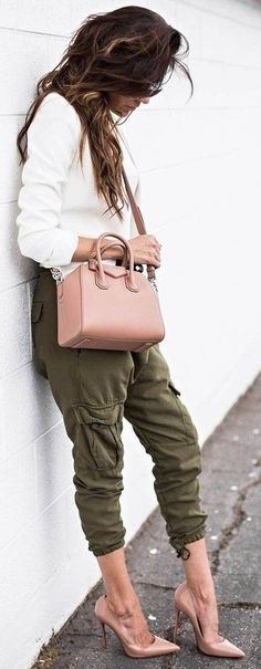 #summer #outfits #inspiration | White + Khaki + Blush Source
