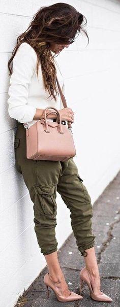 #summer #outfits #inspiration   White + Khaki + Blush Source