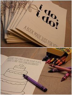 If you have kids like me or will allow your guests to bring kids to your wedding, this is a great idea: A wedding activity book for kids.  Download yours here: Click Here