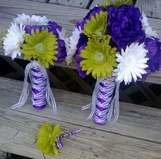 15 Piece Daisy Bridal Bouquet Wedding Bouquet Set White Green Purple Bouquet, Purple Peony Bouquet, Daisy Bouquet, Green Bouquet