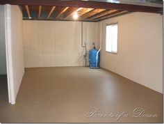 DIY Finished Basement...spraying the walls and floors with paint instead of putting up sheet rock and carpet! Much cheaper and easier.