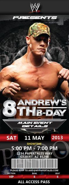 WWE John Cena Birthday Invitation by PaperTalesCustom on Etsy, $35.00: