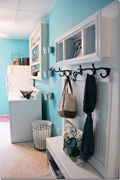 Large hooks so things don't fall easily.  Laundry room ideas- mud room straight into laundry