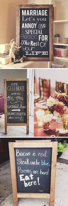 This handmade rustic chalkboard is perfect for wedding and party menus!