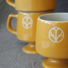 Vintage Hall Harvest Yellow Gold Footed Stackable Mugs (8) by Augustary, $44.00
