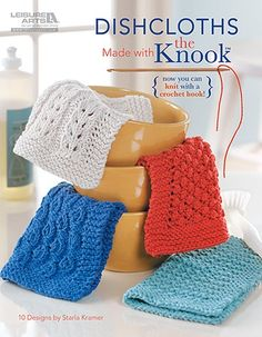 Handy in the kitchen and for gifts, these 10 dishcloths by Starla Kramer are perfect for learning and practicing pattern stitches with the Knook. This specialized crochet hook creates true knitted fabric, while the attached cord completely prevents droppe Tunisian Crochet Stitches, Knit Or Crochet, Crochet Crafts, Easy Crochet, Crochet Hooks, Knitted Fabric, Crochet Mask, Crochet Towel, Yarn Crafts