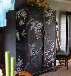 chalkboard paint a whole cabinet!
