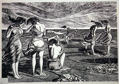 Camber Sands wood engraving) by John Buckland Wright (British, Engraving Printing, Wood Engraving, Auckland Art Gallery, Modern Art, Contemporary Art, Camber Sands, Portraits, Female Art, Printmaking