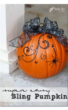 this way to decorate a foam pumpkin is SO EASY - takes just a couple of minutes - LOVE THAT!