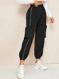 Check out this Contrast Piping Trim Side Pockets Cargo Trousers on Shein and explore more to meet your fashion needs! Teenage Outfits, Teen Fashion Outfits, Girl Outfits, Sporty Fashion, Mod Fashion, Fashion Pants, Fashion Styles, Fashion Clothes, Cargo Pants Outfit