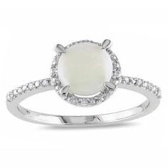 Miadora Sterling Silver Opal and Diamond Accent Ring Size 7.5