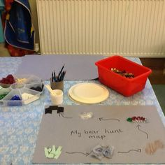 Bear Hunt Maps!  Building and extending our story mapping, we are using a range of creative materials (paints will be added tomorrow, alongside pastels, pens and pencils) to create our own arty map of this lovely story.