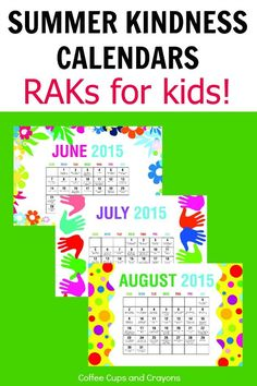 Free Printable Summer Kindness Calendars for Kids!